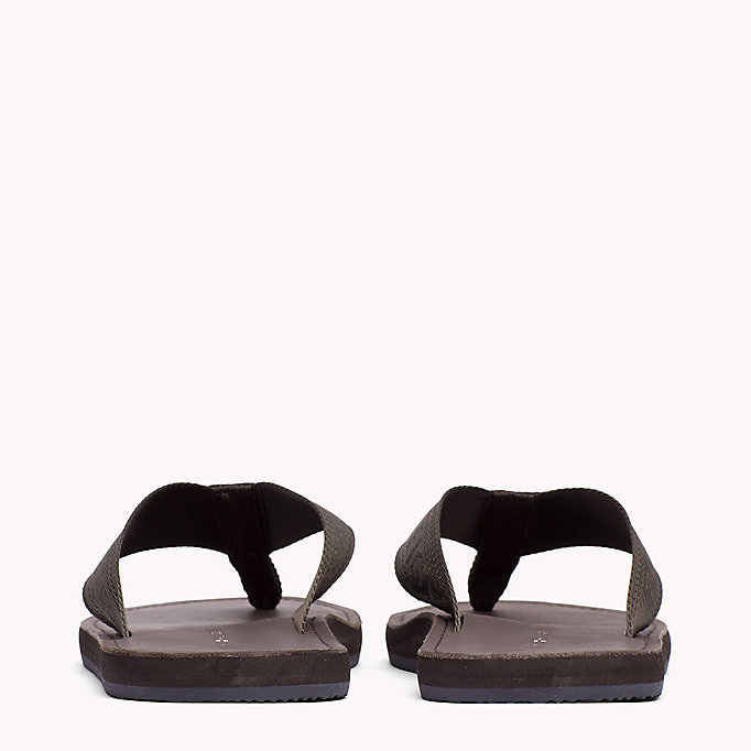 TOMMY HILFIGER Leather Flip-Flops - MIDNIGHT - TOMMY HILFIGER Shoes - detail image 2