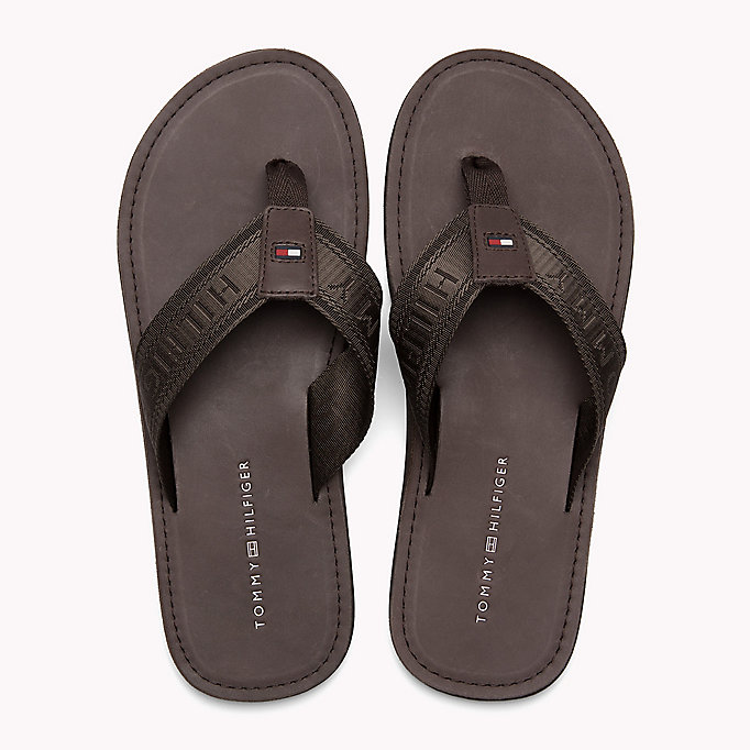 TOMMY HILFIGER Leather Flip-Flops - MIDNIGHT - TOMMY HILFIGER Men - detail image 3