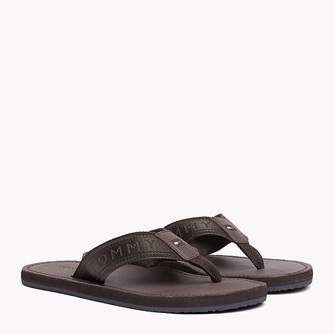 TOMMY HILFIGER Leather Flip-Flops - MIDNIGHT - TOMMY HILFIGER Shoes - main image