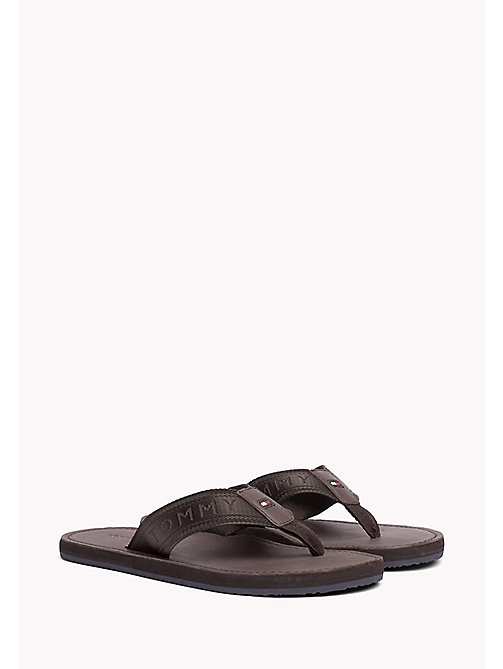 TOMMY HILFIGER Leather Flip-Flops - COFFEEBEAN - TOMMY HILFIGER Shoes - main image