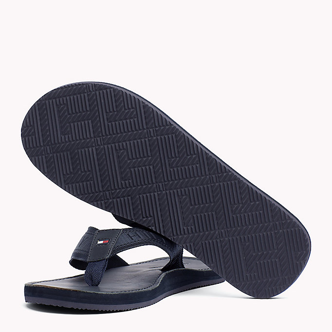 TOMMY HILFIGER Leather Flip-Flops - BLACK - TOMMY HILFIGER Men - detail image 1
