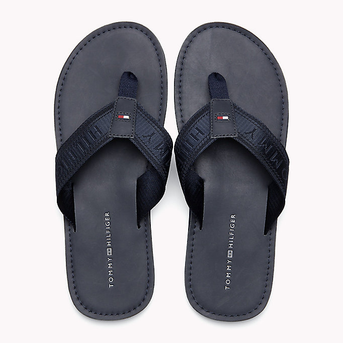 TOMMY HILFIGER Leather Flip-Flops - BLACK - TOMMY HILFIGER Men - detail image 3
