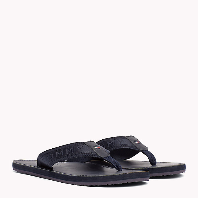 TOMMY HILFIGER Leather Flip-Flops - BLACK - TOMMY HILFIGER Shoes - main image