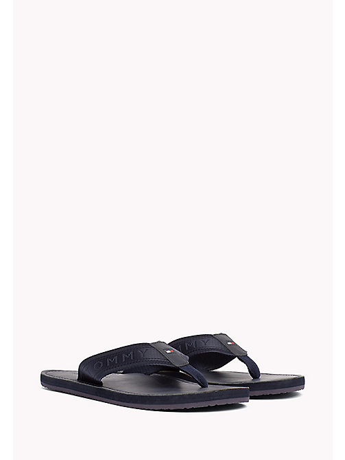 TOMMY HILFIGER Leather Flip-Flops - MIDNIGHT - TOMMY HILFIGER Sandals & Flip Flops - main image