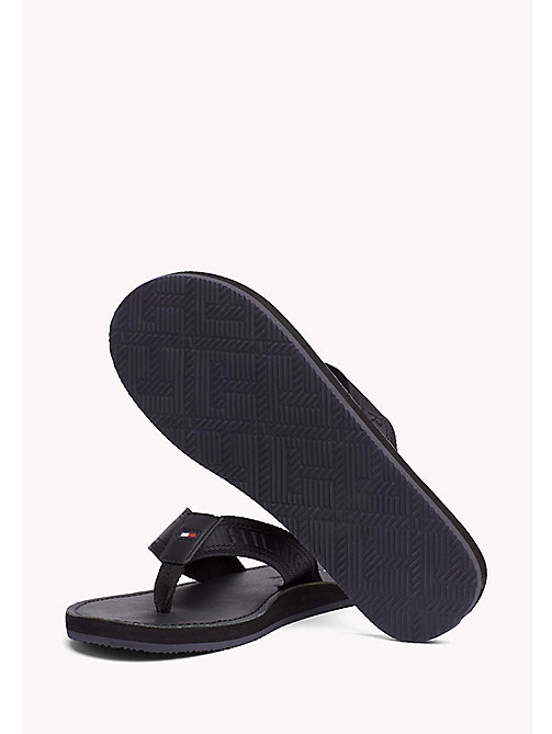 TOMMY HILFIGER Leather Flip-Flops - BLACK - TOMMY HILFIGER Summer shoes - detail image 1