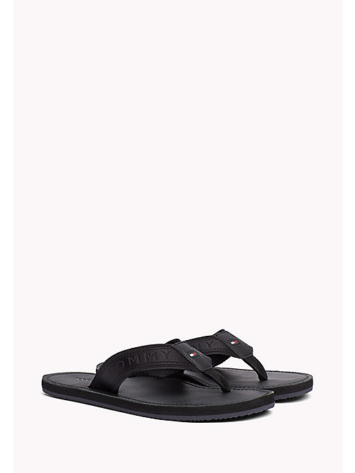 TOMMY HILFIGER Leather Flip-Flops - BLACK - TOMMY HILFIGER Sandals & Flip Flops - main image