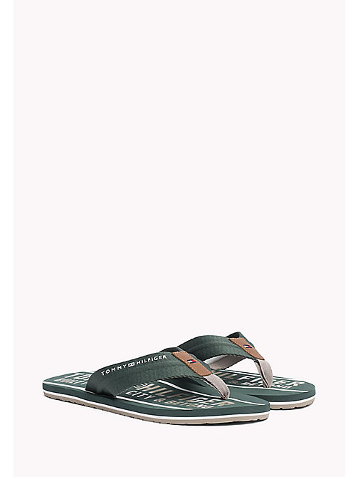 TOMMY HILFIGER Signature Flip-Flops - JUNGLE GREEN - TOMMY HILFIGER Sandals & Flip Flops - main image
