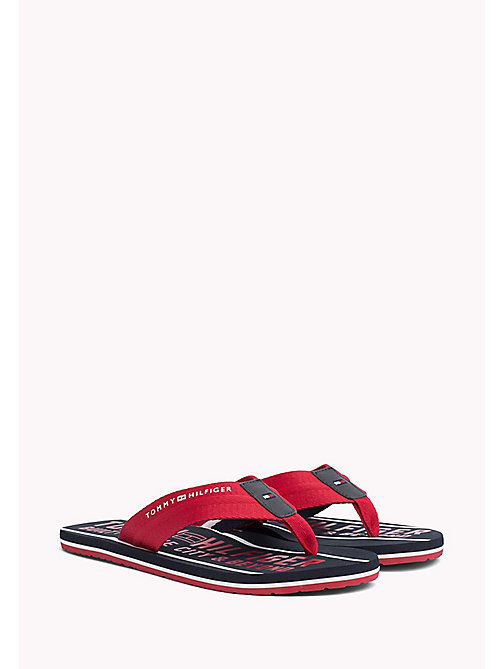TOMMY HILFIGER Signature Flip-Flops - TANGO RED - TOMMY HILFIGER Sandals & Flip Flops - main image
