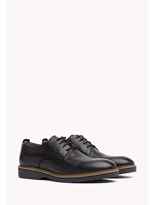 Leather Lace-Up Shoe - BLACK - TOMMY HILFIGER Shoes - main image