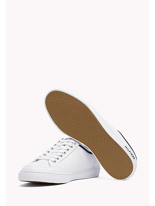 Perforated Leather Trainers - WHITE - TOMMY HILFIGER Shoes - detail image 1