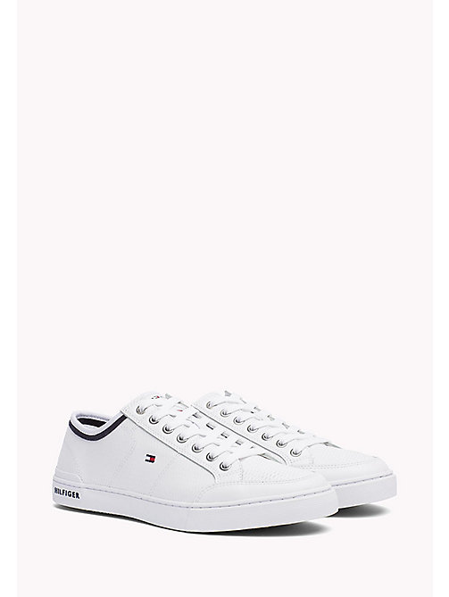 Perforated Leather Trainers - WHITE - TOMMY HILFIGER Shoes - main image