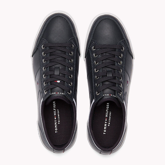 TOMMY HILFIGER Perforated Leather Trainers - WHITE - TOMMY HILFIGER Men - detail image 3