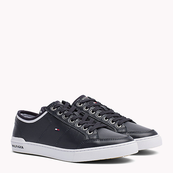 TOMMY HILFIGER Perforated Leather Trainers - WHITE - TOMMY HILFIGER Men - main image