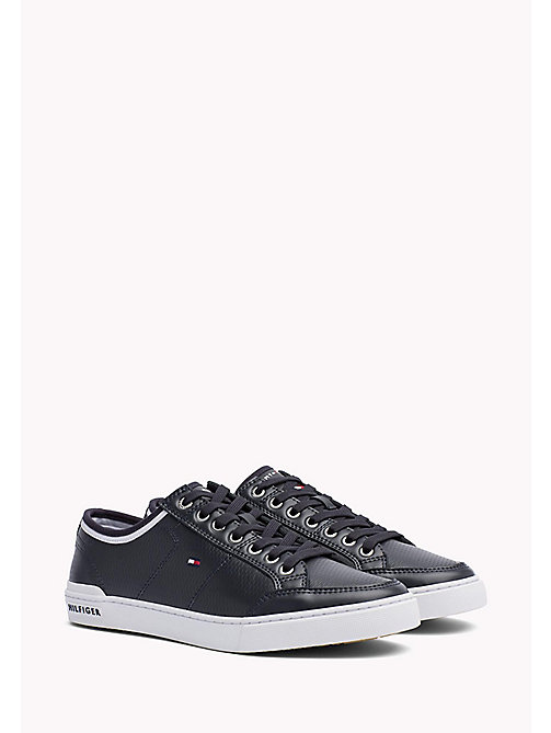 Perforated Leather Trainers - MIDNIGHT - TOMMY HILFIGER Shoes - main image