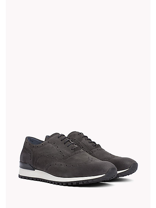 TOMMY HILFIGER Suede Lace-Up Trainers - CHARCOAL - TOMMY HILFIGER Sustainable Evolution - main image