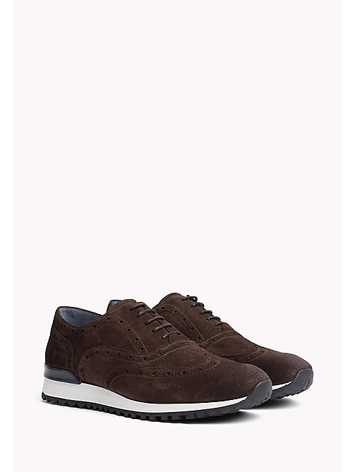 TOMMY HILFIGER Suede Lace-Up Trainers - COFFEE BEAN - TOMMY HILFIGER Sustainable Evolution - main image