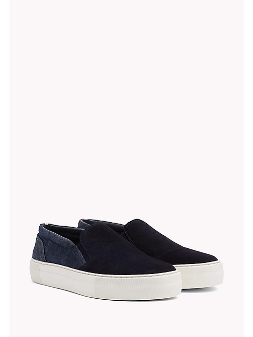 Suede Slip-On Trainers - MIDNIGHT-DENIM - TOMMY HILFIGER Shoes - main image