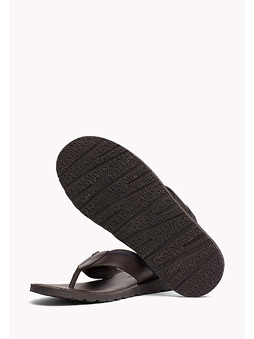 TOMMY HILFIGER Leather Slip-On Sandals - COFFEE BEAN - TOMMY HILFIGER Sandals & Flip Flops - detail image 1