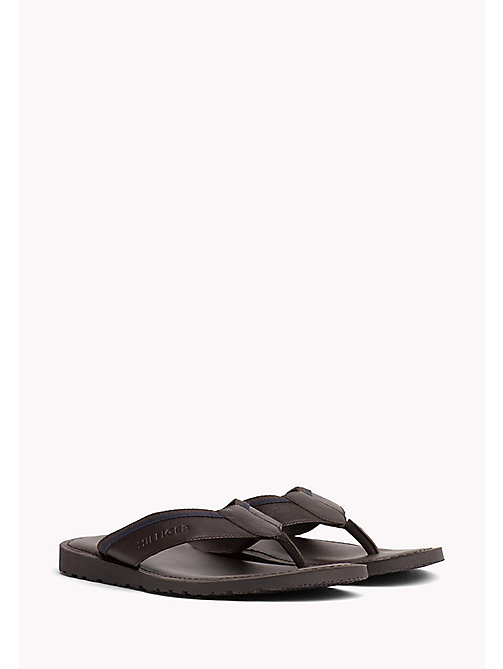 TOMMY HILFIGER Leather Slip-On Sandals - COFFEE BEAN - TOMMY HILFIGER Sandals & Flip Flops - main image