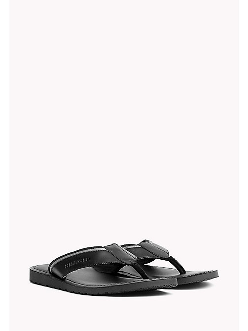 TOMMY HILFIGER Leather Slip-On Sandals - BLACK - TOMMY HILFIGER Summer shoes - main image
