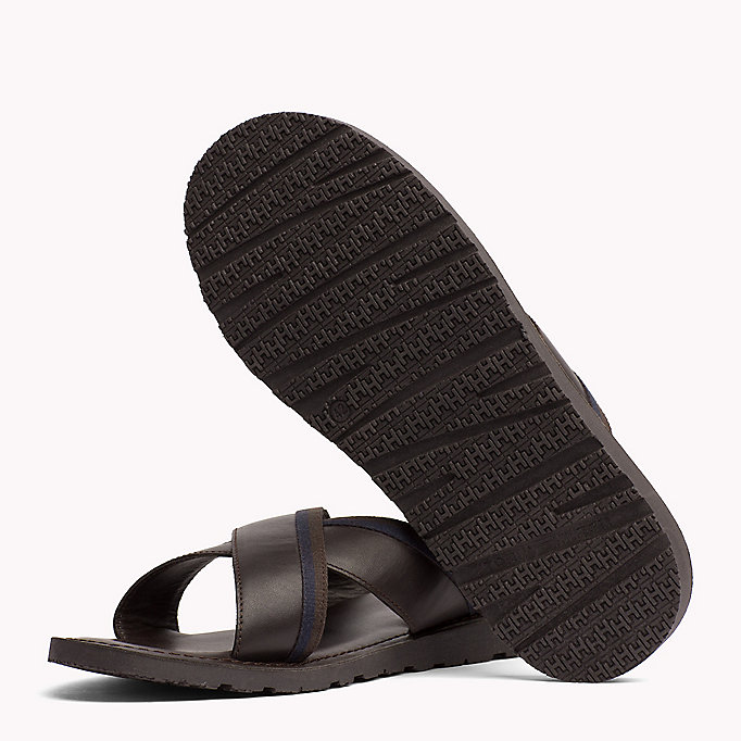 TOMMY HILFIGER Leather Cross Strap Sandals - BLACK - TOMMY HILFIGER Shoes - detail image 1