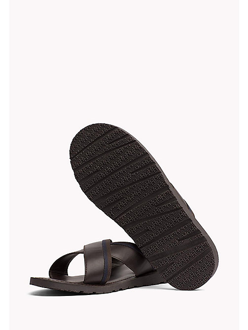 TOMMY HILFIGER Leather Cross Strap Sandals - COFFEE BEAN - TOMMY HILFIGER Sandals & Flip Flops - detail image 1