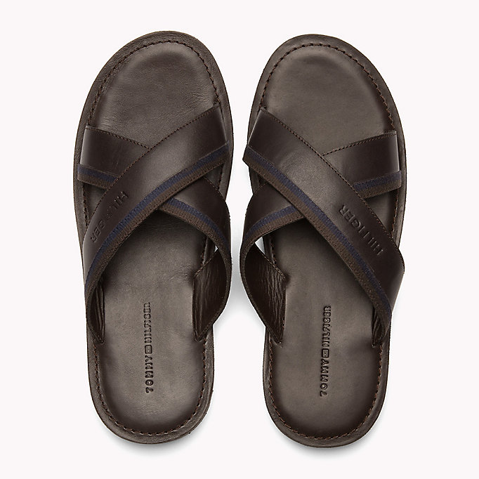 TOMMY HILFIGER Leather Cross Strap Sandals - BLACK - TOMMY HILFIGER Men - detail image 3