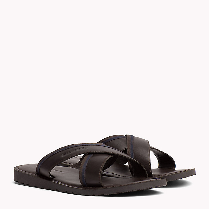 TOMMY HILFIGER Leather Cross Strap Sandals - BLACK - TOMMY HILFIGER Men - main image