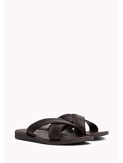 TOMMY HILFIGER Leather Cross Strap Sandals - COFFEE BEAN - TOMMY HILFIGER Sandals & Flip Flops - main image