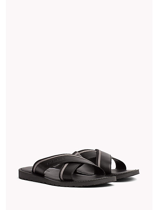 TOMMY HILFIGER Leather Cross Strap Sandals - BLACK - TOMMY HILFIGER Sandals & Flip Flops - main image