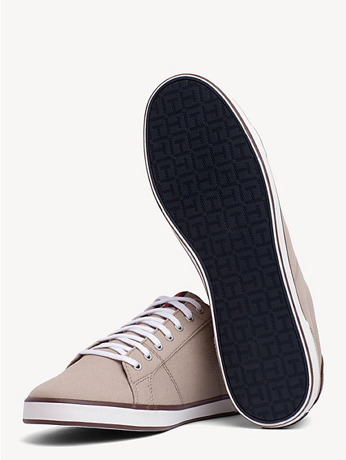 TOMMY HILFIGER Lace-Up Sustainable Cotton Trainers - COBBLESTONE - TOMMY HILFIGER Trainers - detail image 1