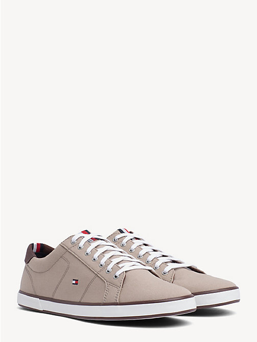 TOMMY HILFIGER Lace-Up Sustainable Cotton Trainers - COBBLESTONE - TOMMY HILFIGER Trainers - main image