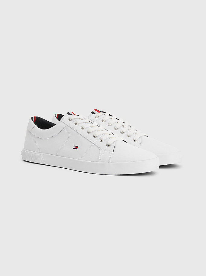 white iconic contrast panel trainers for men tommy hilfiger