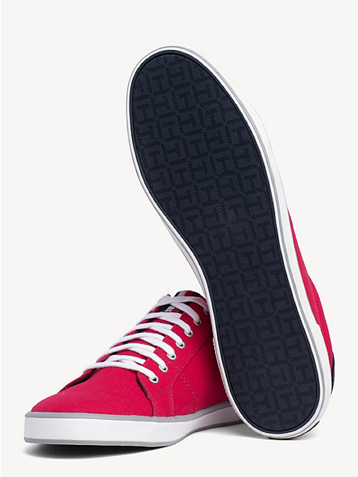 TOMMY HILFIGER Lace-Up Sustainable Cotton Trainers - TANGO RED - TOMMY HILFIGER Trainers - detail image 1