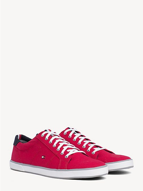 TOMMY HILFIGER Lace-Up Sustainable Cotton Trainers - TANGO RED - TOMMY HILFIGER Trainers - main image