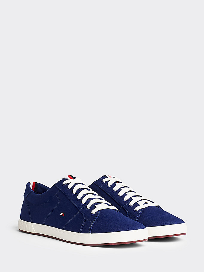 blue iconic contrast panel trainers for men tommy hilfiger