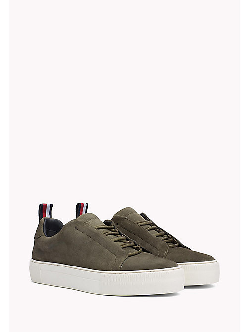 TOMMY HILFIGER Suede Cupsole Lace-Up Trainers - DUSTY OLIVE - TOMMY HILFIGER Trainers - main image