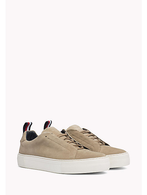 TOMMY HILFIGER Suede Cupsole Lace-Up Trainers - SAND - TOMMY HILFIGER Shoes - main image