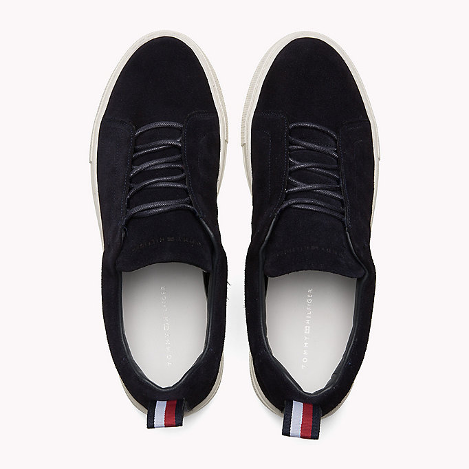 TOMMY HILFIGER Suede Cupsole Lace-Up Trainers - DUSTY OLIVE - TOMMY HILFIGER Shoes - detail image 3