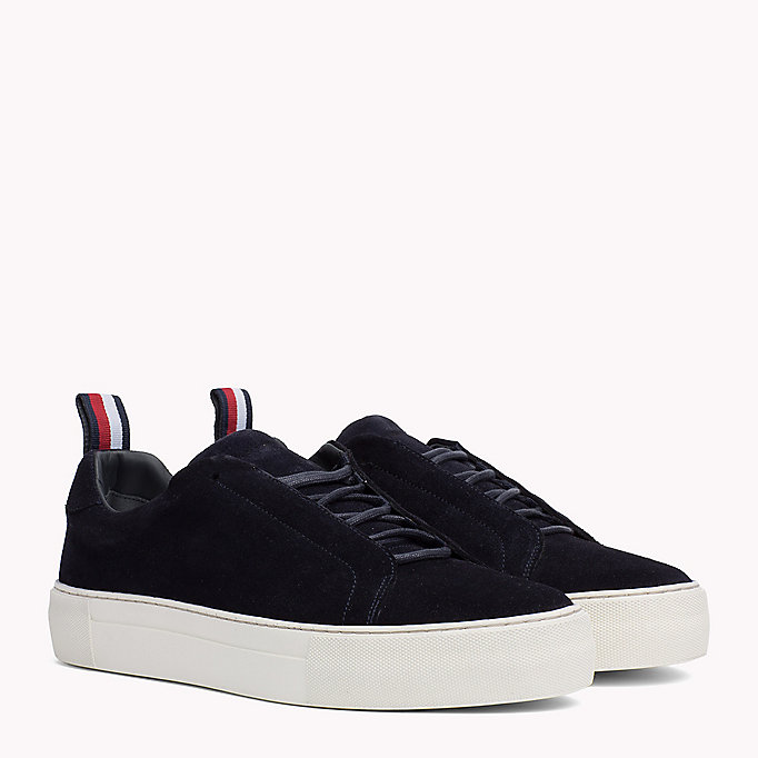 TOMMY HILFIGER Suede Cupsole Lace-Up Trainers - DUSTY OLIVE - TOMMY HILFIGER Shoes - main image