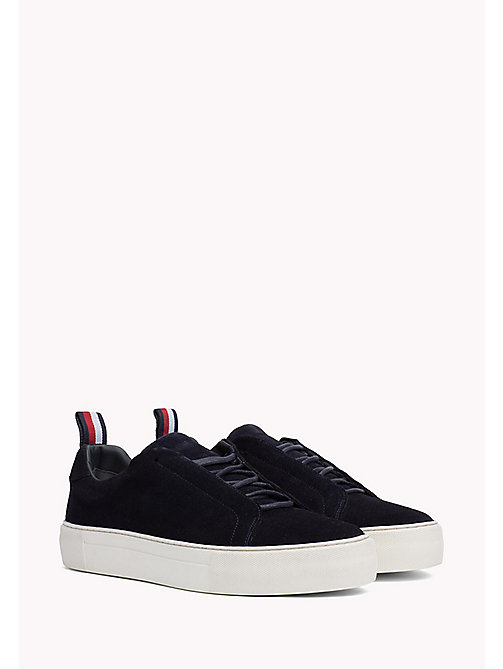 TOMMY HILFIGER Suede Cupsole Lace-Up Trainers - MIDNIGHT - TOMMY HILFIGER Summer shoes - main image