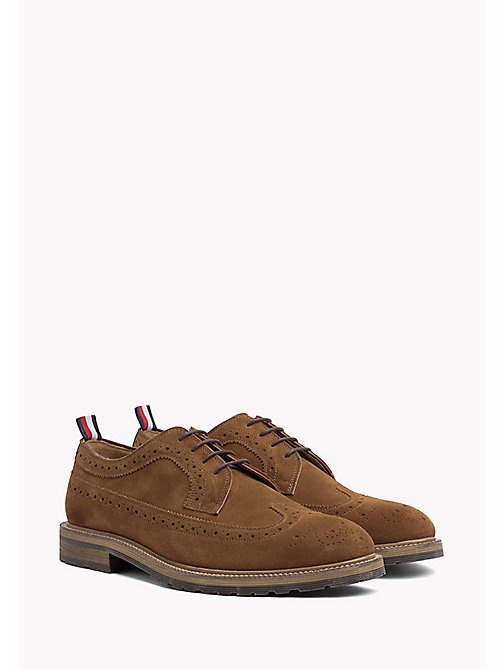 TOMMY HILFIGER CLASSIC WINGTIP SUEDE SHOE - COGNAC - TOMMY HILFIGER Lace-up Shoes - main image