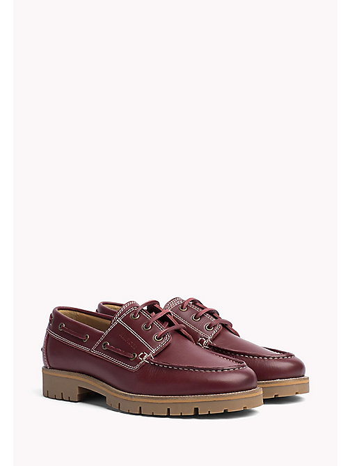 TOMMY HILFIGER Leather Boat Shoes - BURGUNDY - TOMMY HILFIGER Summer shoes - main image