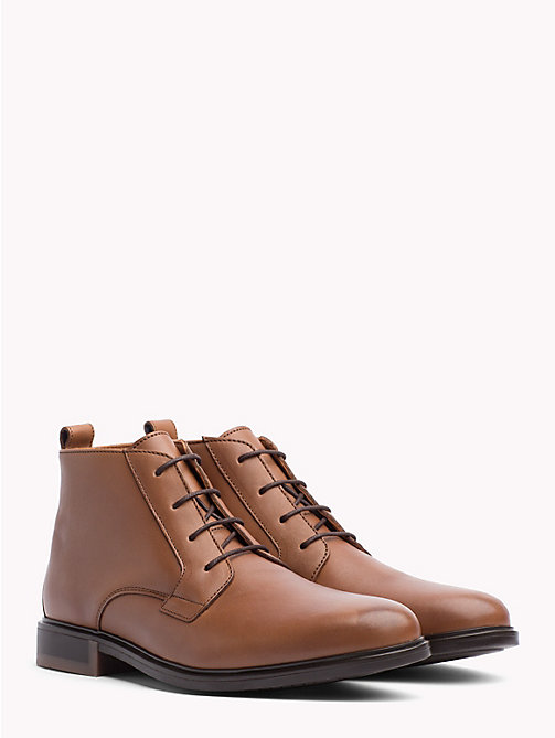 TOMMY HILFIGER Classic Leather Ankle Boots - COGNAC - TOMMY HILFIGER Lace-Up Boots - main image