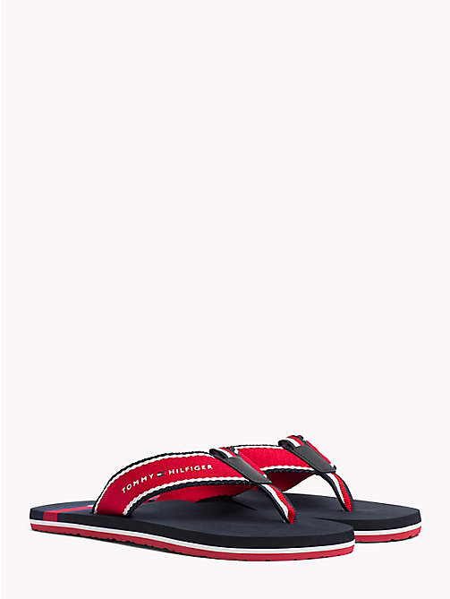 TOMMY HILFIGER Flag Logo Beach Sandals - TANGO RED - TOMMY HILFIGER Sandals & Flip Flops - main image