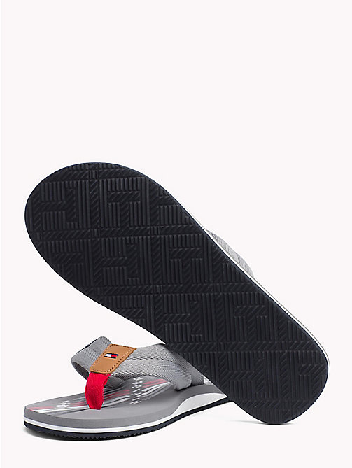 TOMMY HILFIGER Logo Print Flip-Flops - GRIFFIN GREY - TOMMY HILFIGER Summer shoes - detail image 1