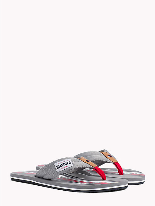 TOMMY HILFIGER Logo Print Flip-Flops - GRIFFIN GREY - TOMMY HILFIGER Summer shoes - main image