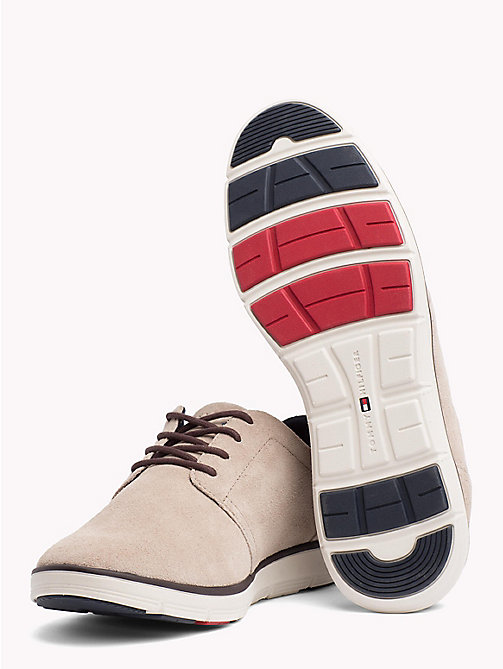 TOMMY HILFIGER Lightweight Signature Sole Suede Trainers - TAUPE - TOMMY HILFIGER Shoes - detail image 1