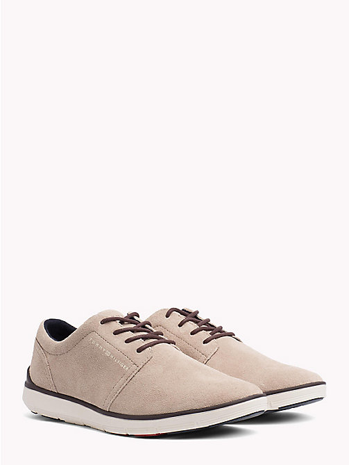 TOMMY HILFIGER Lightweight Signature Sole Suede Trainers - TAUPE - TOMMY HILFIGER Lace-up Shoes - main image