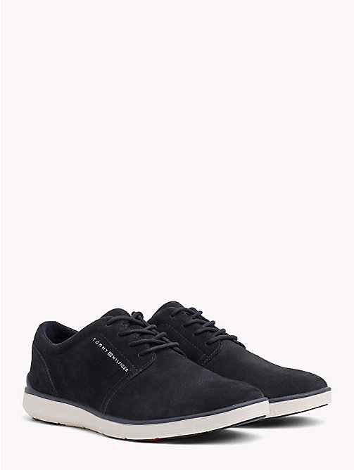 TOMMY HILFIGER Lightweight Signature Sole Suede Trainers - MIDNIGHT - TOMMY HILFIGER Shoes - main image